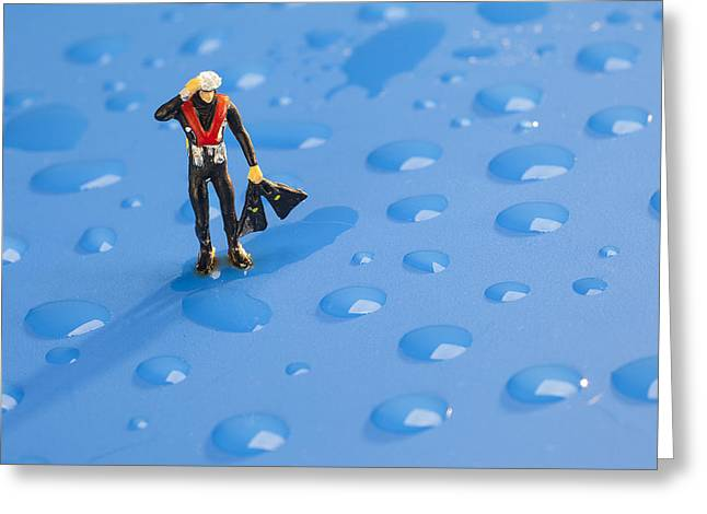 Greeting Card featuring the photograph The Diver Among Water Drops Little People Big World by Paul Ge