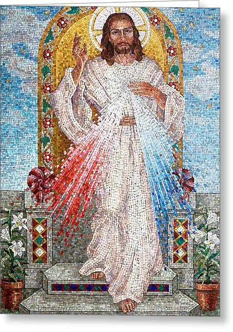 Religious Mosaic Mixed Media Greeting Cards - The Divine Mercy  Greeting Card by Janet Flom