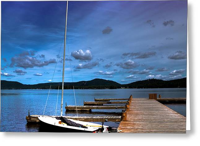The Dock At The Woods Inn Greeting Card by David Patterson
