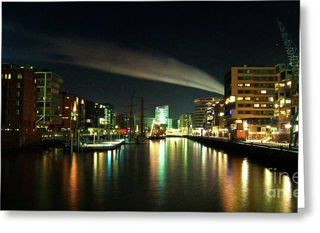 The Docks Of Hamburg By Night Greeting Card by Rob Hawkins