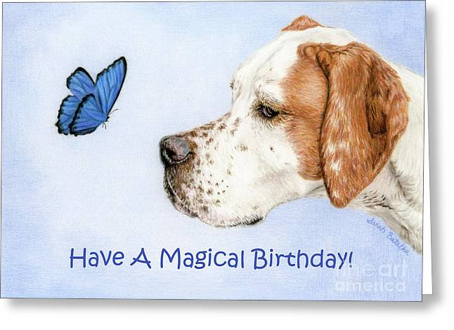 The Dog And The Butterfly- Birthday Cards Greeting Card by Sarah Batalka