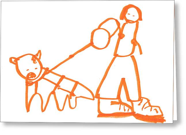 The Dog Is Barking On The Leash Greeting Card