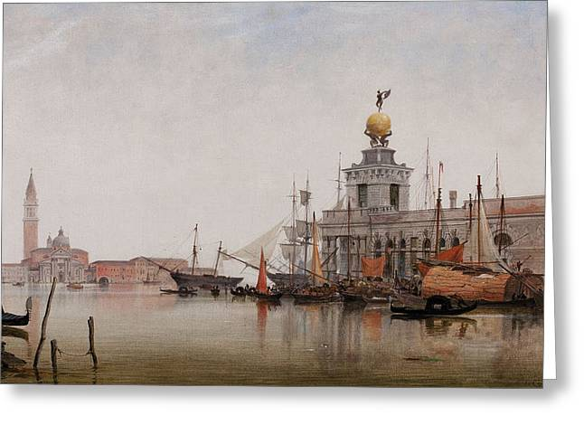 The Dogana Di Mare With San Giorgio Maggiore Beyond Greeting Card by Edward William Cooke