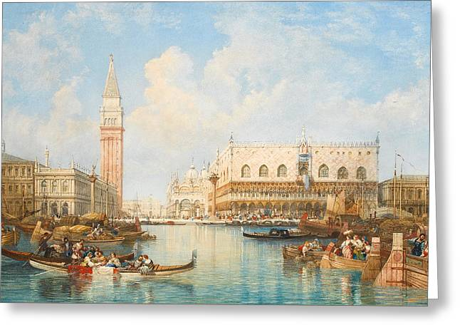 The Doge's Palace And Piazetta From The Lagoon, Venice Greeting Card by William Wyld