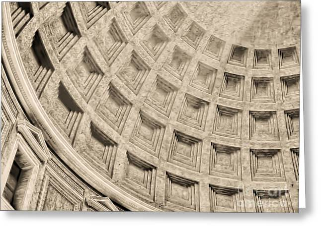 Greeting Card featuring the photograph The Dome Of The Pantheon by Nigel Fletcher-Jones
