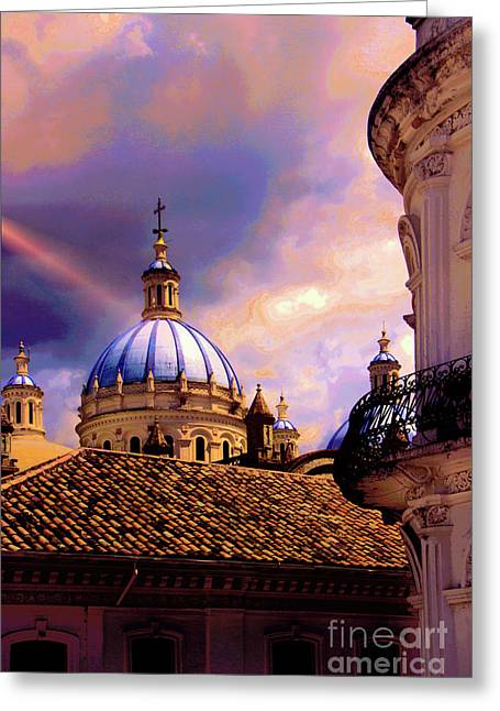 The Domes Of Immaculate Conception, Cuenca, Ecuador Greeting Card by Al Bourassa