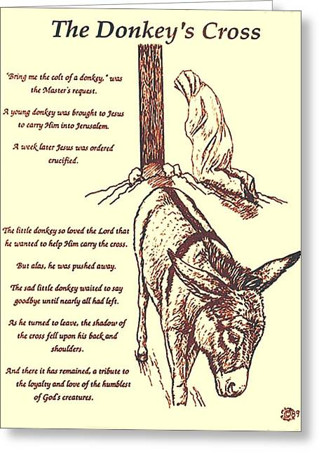 Spiritual Animal Greeting Cards - The Donkeys Cross Greeting Card by Mary Singer