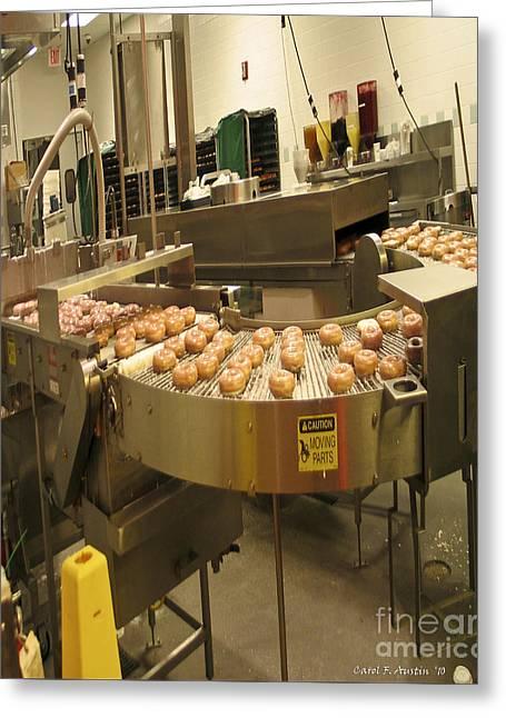 The Doughnut Machine Greeting Card by Carol F Austin
