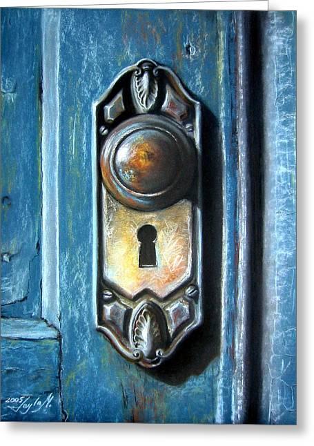 The Door Knob Greeting Card by Leyla Munteanu