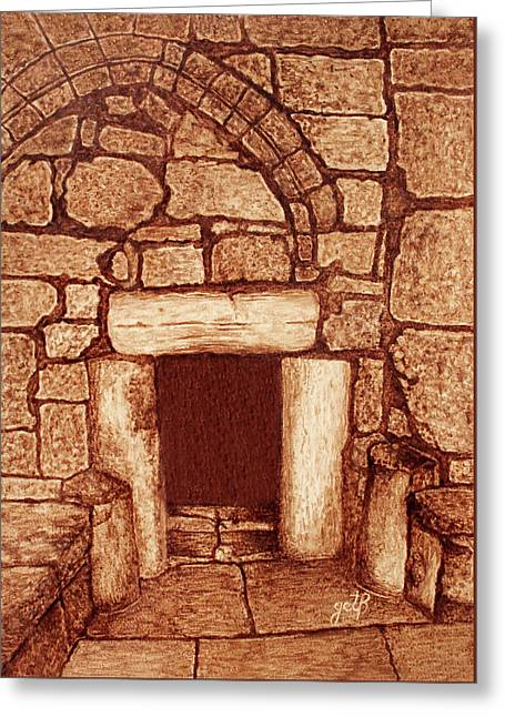 Greeting Card featuring the painting The Door Of Humility At The Church Of The Nativity Bethlehem by Georgeta Blanaru