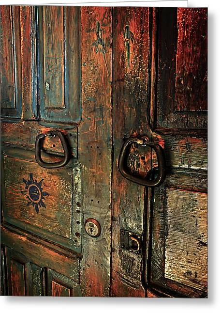 The Door Of Many Colors Greeting Card