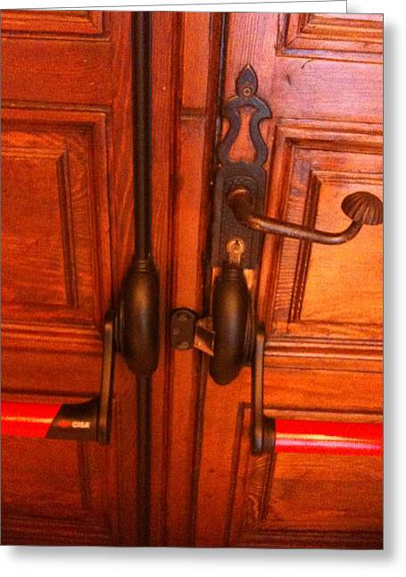 The Doorknobs Greeting Card by Sara Efazat