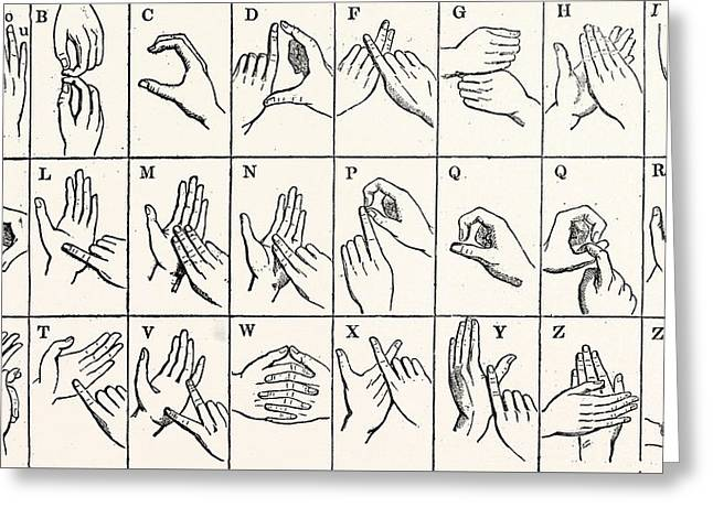 The Double Handed Alphabet Greeting Card by Unknown