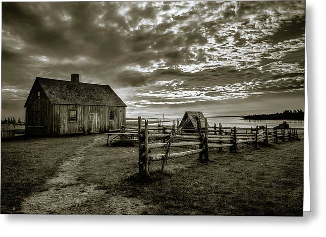 Greeting Card featuring the photograph The Doucet House - Bw by Chris Bordeleau