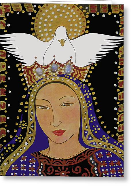 The Dove And The Madonna Greeting Card by Christina Miller