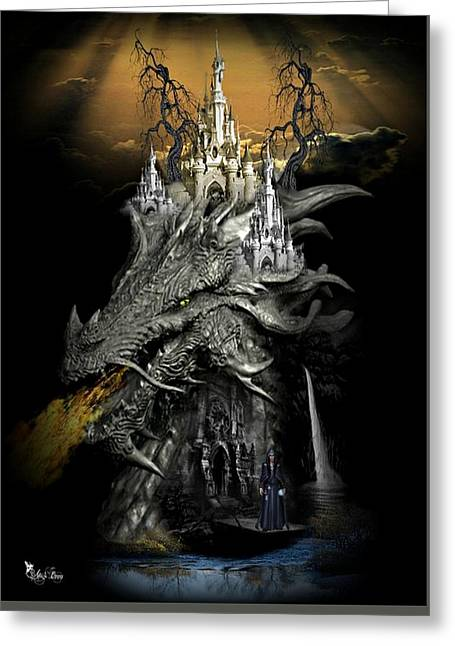 The Dragons Castle Greeting Card by Ali Oppy