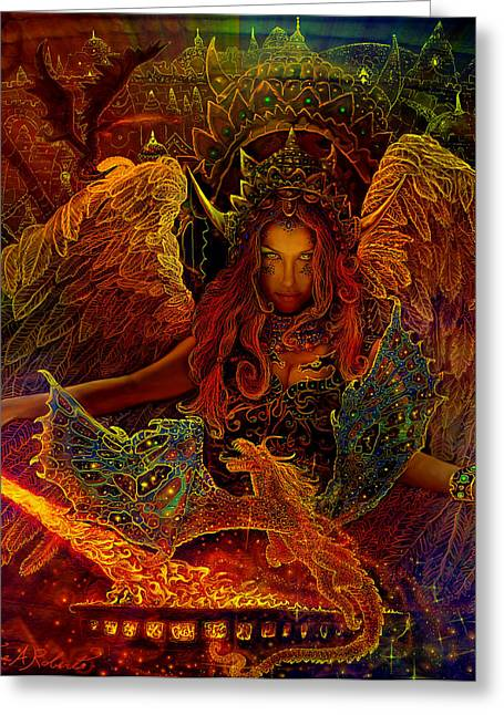 Steve Roberts Greeting Cards - The Dragons Spell Greeting Card by Steve Roberts