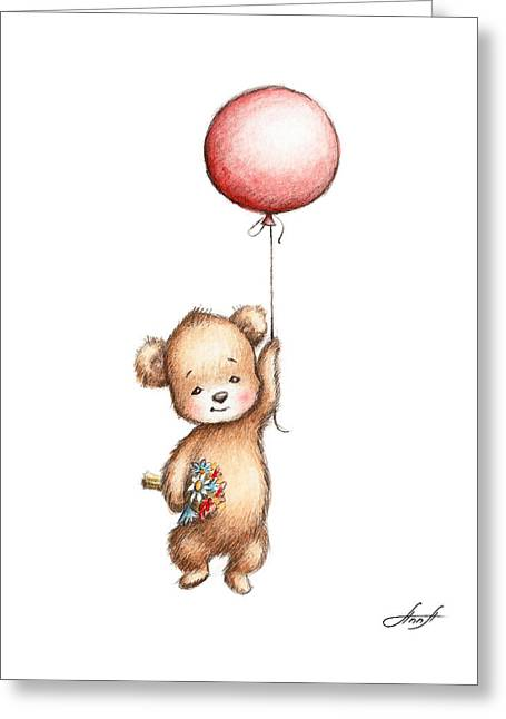 The Drawing Of Teddy Bear With Red Balloon And Flowers Greeting Card by Anna Abramska