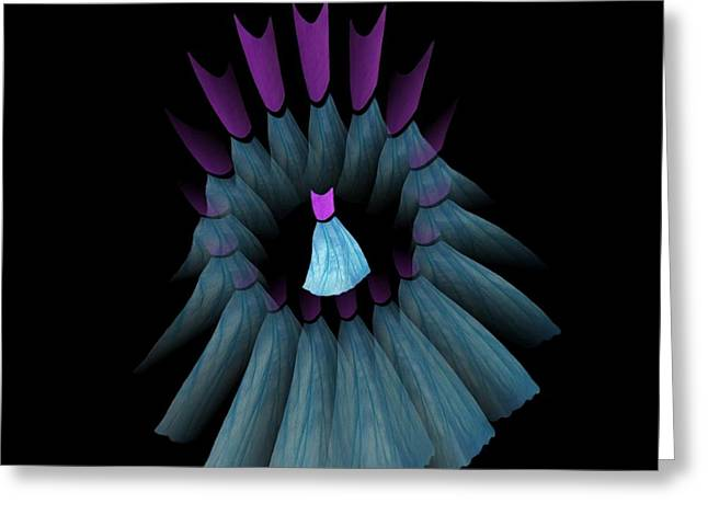 The Dream Circle Of Wise Women - Turquoise And Purple Greeting Card by Jacqueline Migell