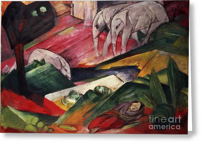 The Trees Greeting Cards - The Dream  Greeting Card by Franz Marc