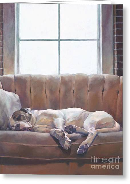 Dog On Couch Greeting Cards - The Dream Greeting Card by Gloria Najecki