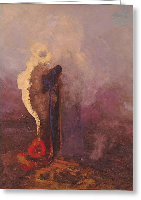 Reverie Paintings Greeting Cards - The Dream  Greeting Card by Odilon Redon