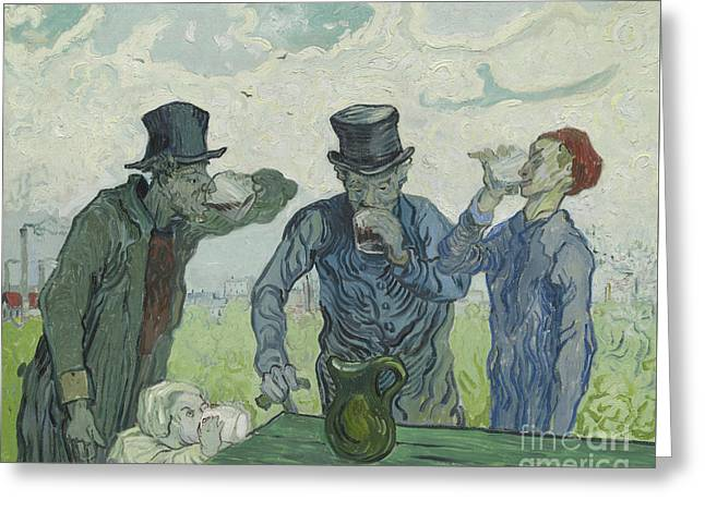 The Drinkers Greeting Card by Vincent Van Gogh