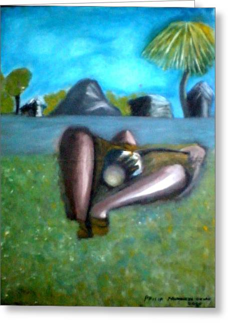 The Drummer Greeting Card by Philip Okoro
