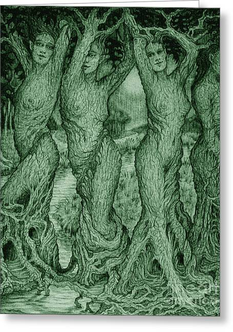 The Dryads Greeting Card by Debra A Hitchcock