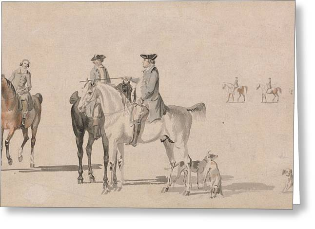 The Duke Of Cumberland With A Gentleman And A Groom, All Mounted, And Dogs Greeting Card