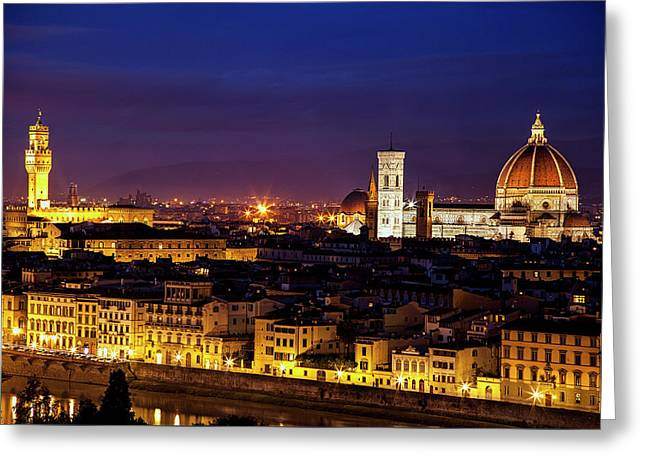 The Duomo At Twilight Greeting Card by Andrew Soundarajan
