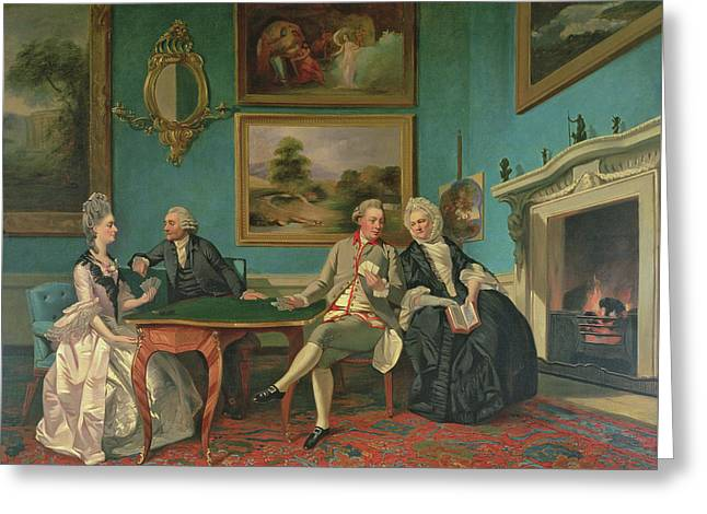The Dutton Family In The Drawing Room Of Sherborne Park, Gloucestershire Greeting Card by Johann Zoffany