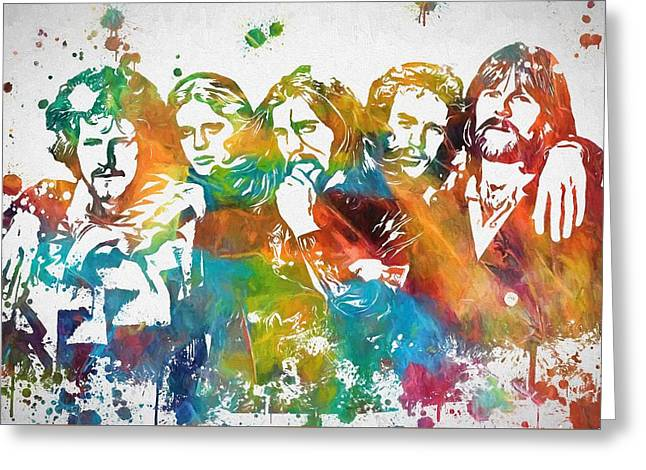 The Eagles Paint Splatter Tribute Greeting Card by Dan Sproul
