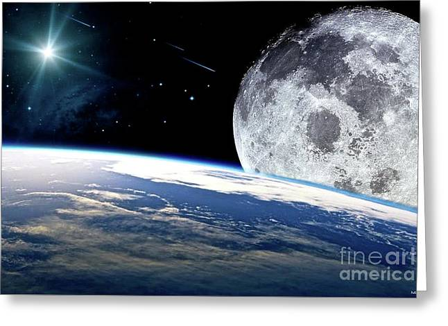 The Earth, Moon And The Stars Greeting Card