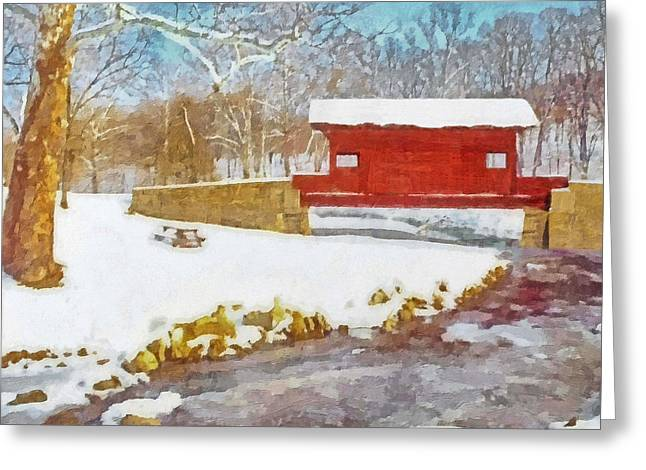 The Ebenezer Bridge In Winter Greeting Card