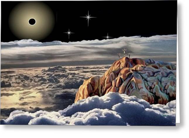 The Eclipse At Calvary Greeting Card by Ron Chambers
