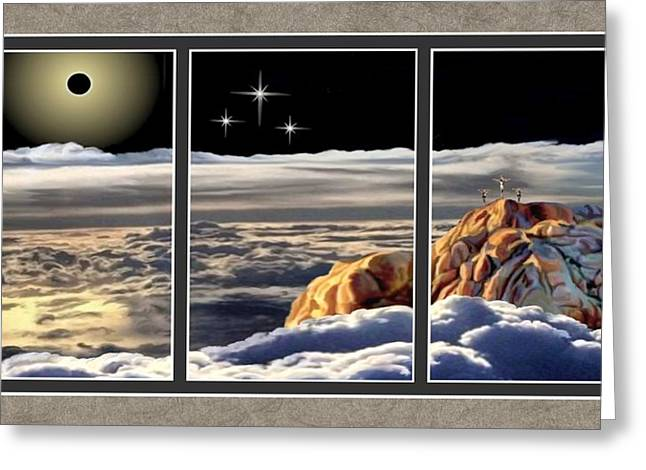 The Eclipse At Calvary Split Image Greeting Card by Ron Chambers