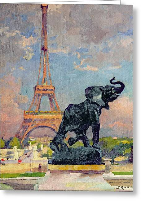 The Eiffel Tower And The Elephant By Fremiet Greeting Card by Jules Ernest Renoux