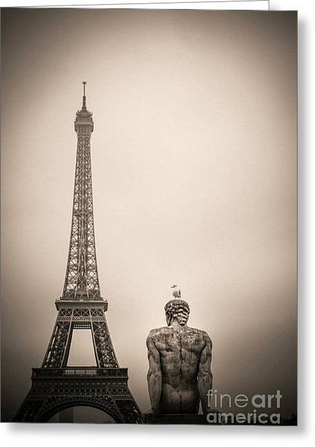 The Eiffel Tower And The L'homme The Man Statue By Pierre Traverse Paris. France. Europe. Greeting Card