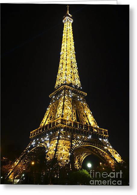 The Eiffel Tower At Night Illuminated, Paris, France. Greeting Card by Perry Van Munster