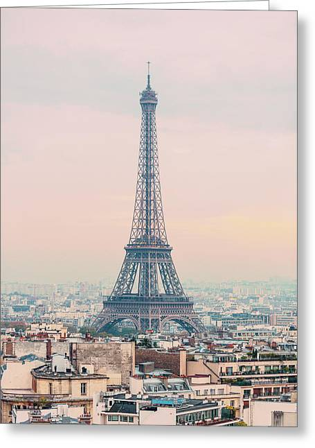 The Eiffel Tower At Sunset From The L'arc De Triomph Paris France Greeting Card