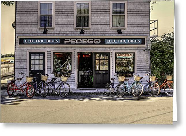 Greeting Card featuring the photograph The Electric Bike Shop Bristol Ri by Tom Prendergast