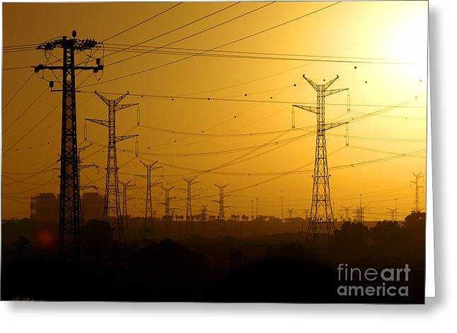 The Electric Way To Sunset. Greeting Card