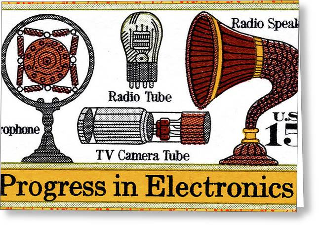 The Electronic Components Stamp Greeting Card by Lanjee Chee