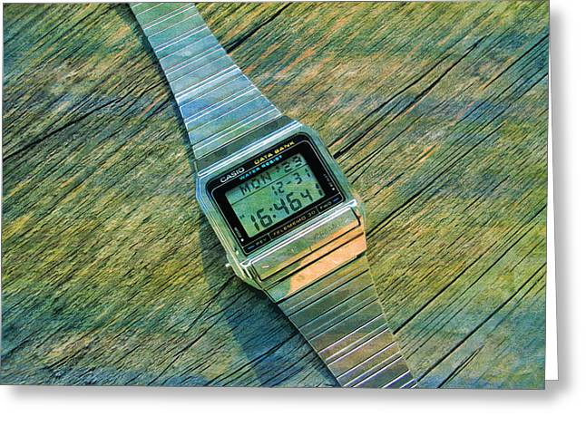 The Electronic Watch Casio Watch  Greeting Card by PixBreak Art