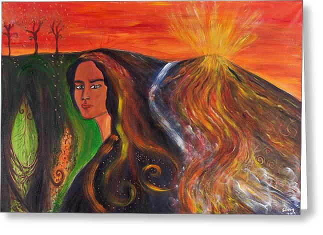 The Elemental Goddess Greeting Card by Solveig Katrin