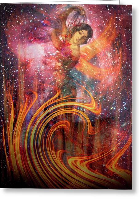 The Elements Fire Greeting Card by Debra and Dave Vanderlaan