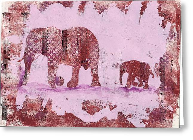 The Elephant March Greeting Card