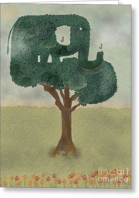 Greeting Card featuring the painting The Elephant Tree by Bri B