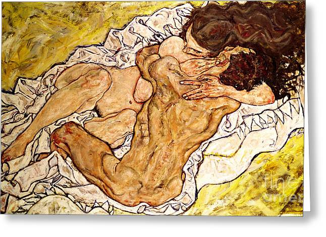 The Embrace Greeting Card by Egon Schiele